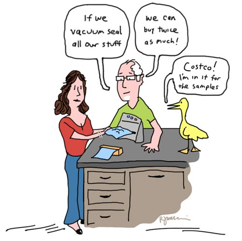 Vacuum sealer cartoon by Rick Jamison